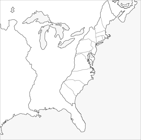 Thirteen Colonies Blank Map coloring page from American