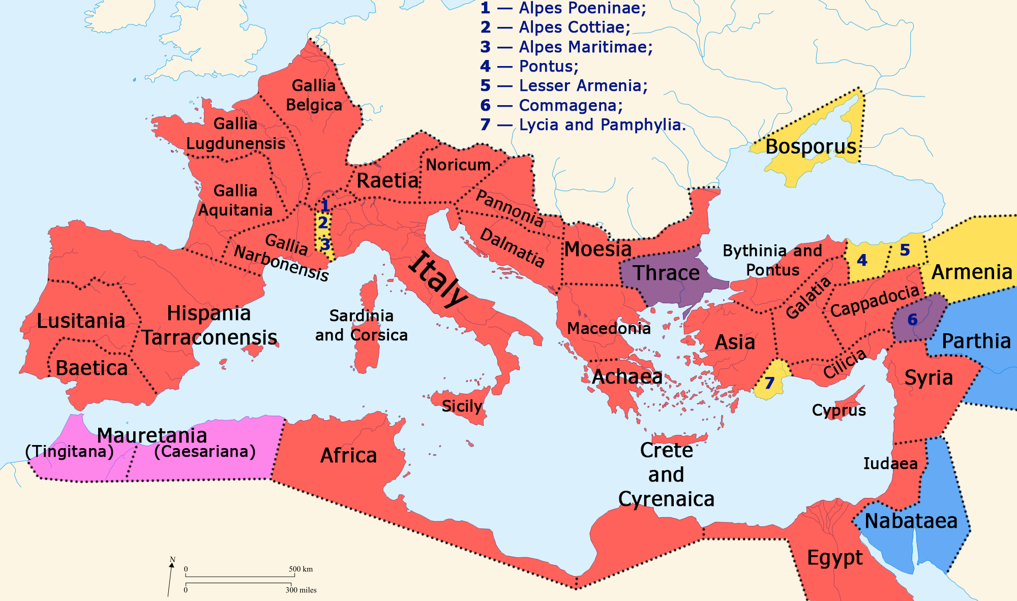 Map Of The Roman Empire And Neighboring States By 41 Red