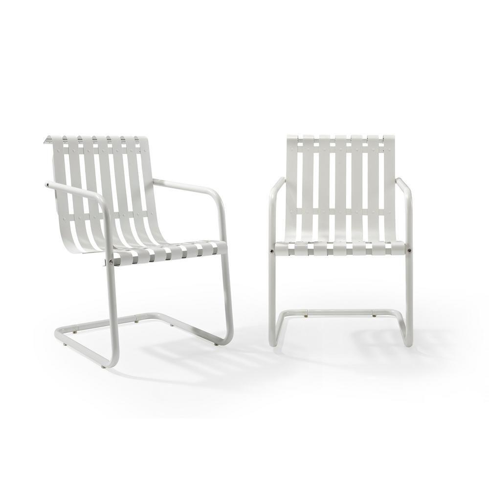 Crosley Gracie White Metal Outdoor Chair Set Of 2 Co1020 Wh Metal Outdoor Chairs Outdoor Chairs Accent Chair Set