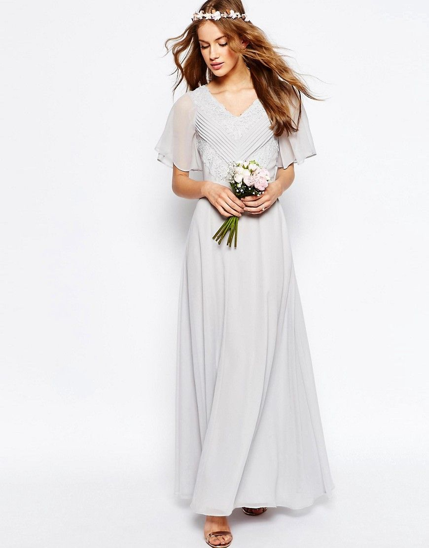 Image of asos wedding lace and pleat maxi dress bridesmaids