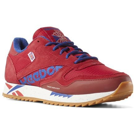 Reebok Women S Classic Leather Ripple In Excellent Red Chalk Size