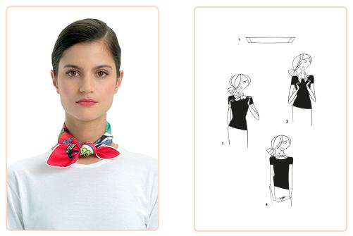 4f7317898619 Ce nouage « Petit Gaucho » est réalisable avec un gavroche et un carré  70x70 cm. Jouez avec votre carré Hermès avec l application Silk Knots !