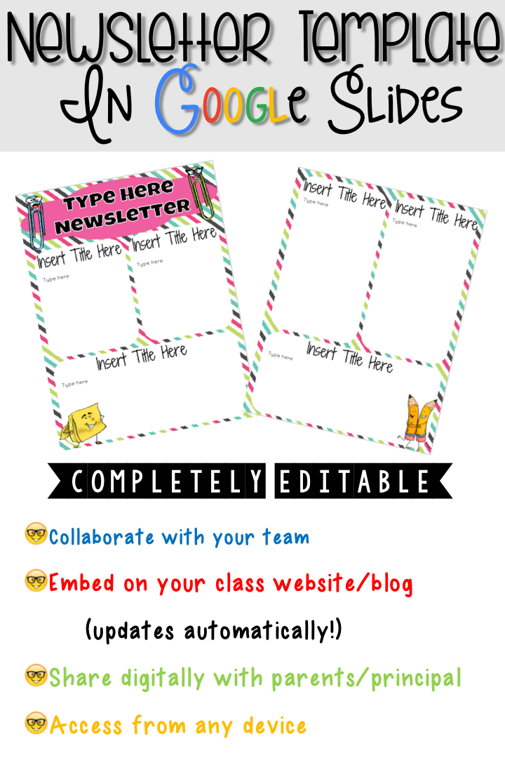 Newsletter Template In Google Slidespletely Editable Etsy Way To Collaborate With Team Members