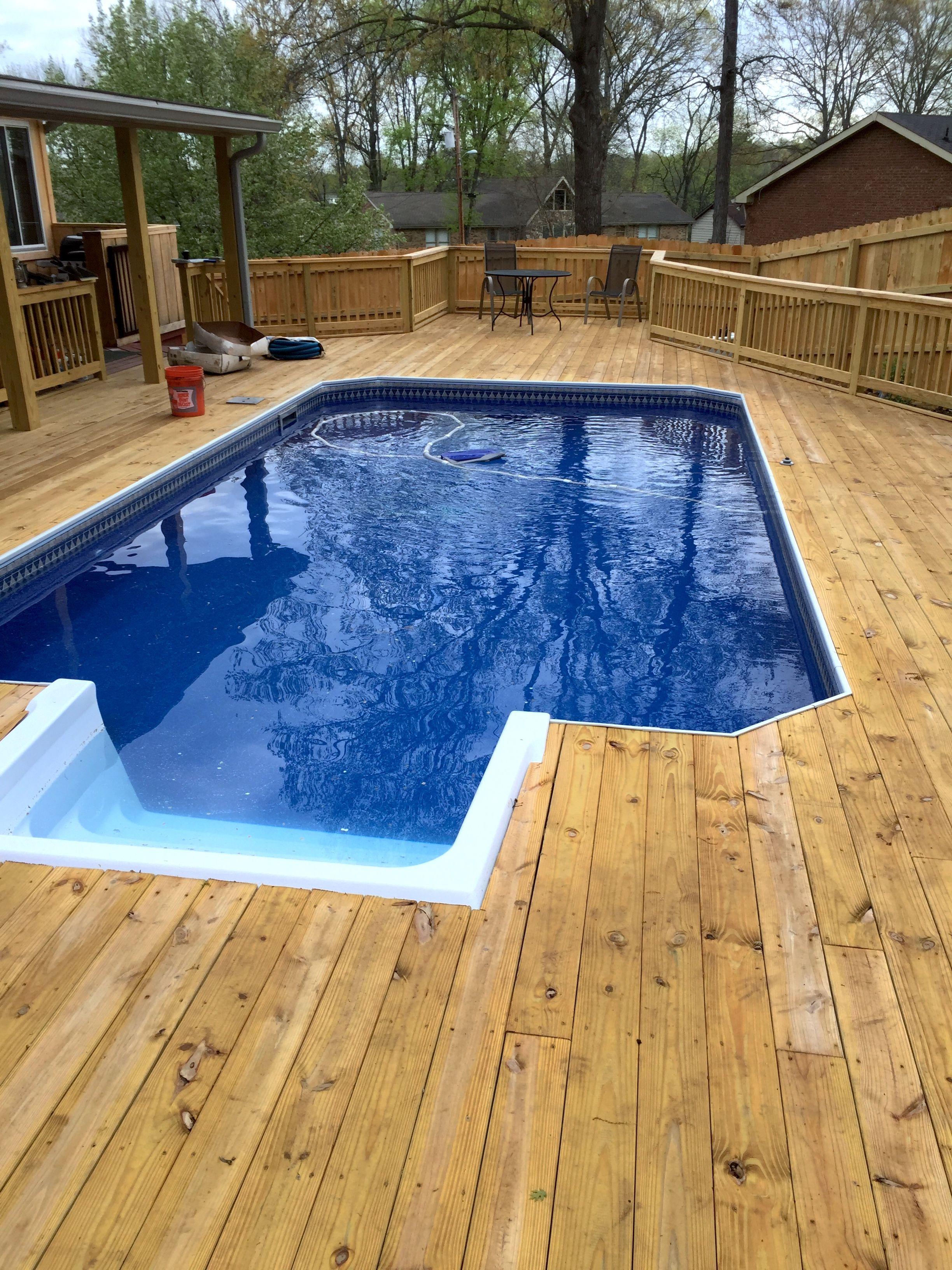 Pool And Spa Depot 13 X 24 Steel Wall Grecian Pool White Steps Wood Decking Spa Pool Pool Steel Wall