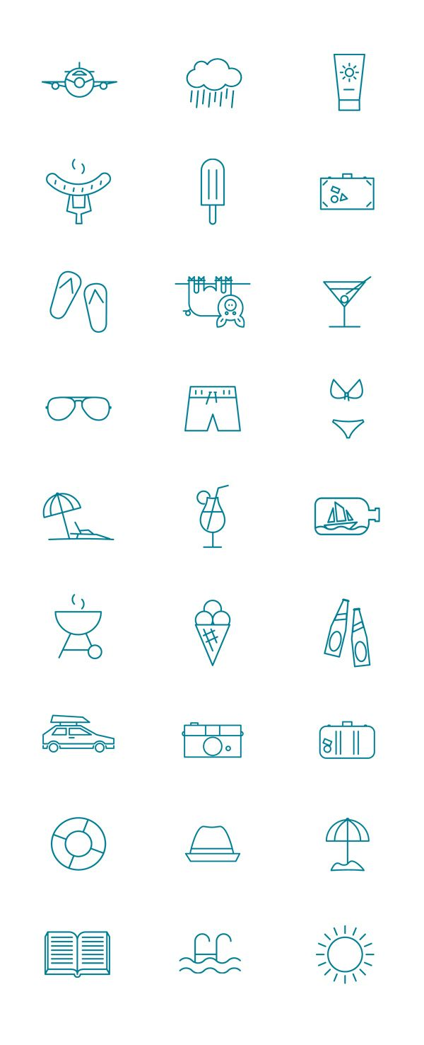 Simple Symbols To Utilize In Infographics Of With Text Summer Pictogram By Kenneth Knudsen