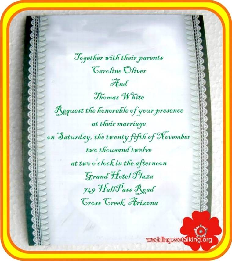 Indian Reception Invitation Wordings In English | Wedding Images ...