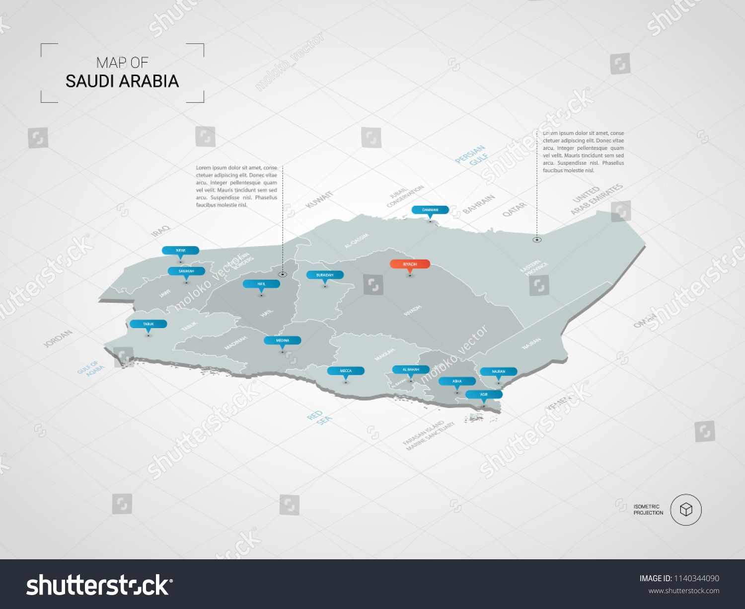 Isometric 3d Saudi Arabia N Map Stylized Vector Map Illustration With Cities Borders Capital Riyadh Administrative Division Map Illustrated Map Map Vector