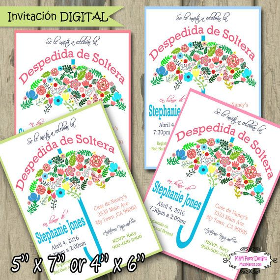 despedida de soltera en espaol bridal shower flower invitation diy printable by m2mpartydesigns httpswwwetsycomshopm2mparty