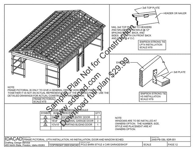Www Pdfgarages Com Pole Barn Plans Compete Construction Drawings