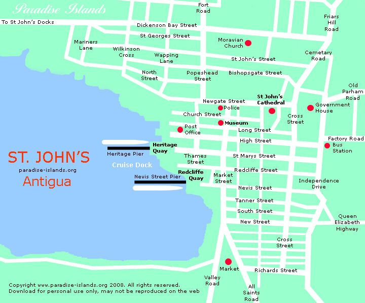 St Johns Map Antigua Lets Go Southern Caribbean Cruise - Southern caribbean map