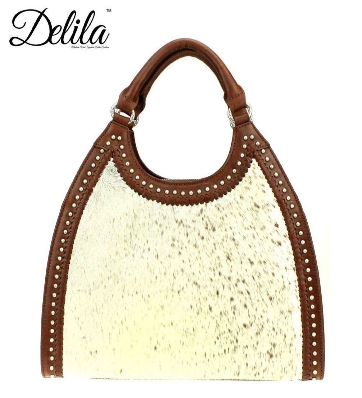 DELILA Genuine Leather Hair-On Hide Collection Handbag