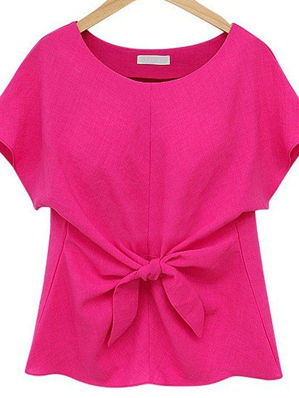 Bow Patchwork Plain Printed Short Sleeve T-Shirts #chiffonshorts