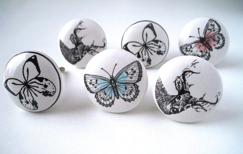 Lot de 6 boutons de Porte Placard Tiroir Meuble Céramique vintage ...