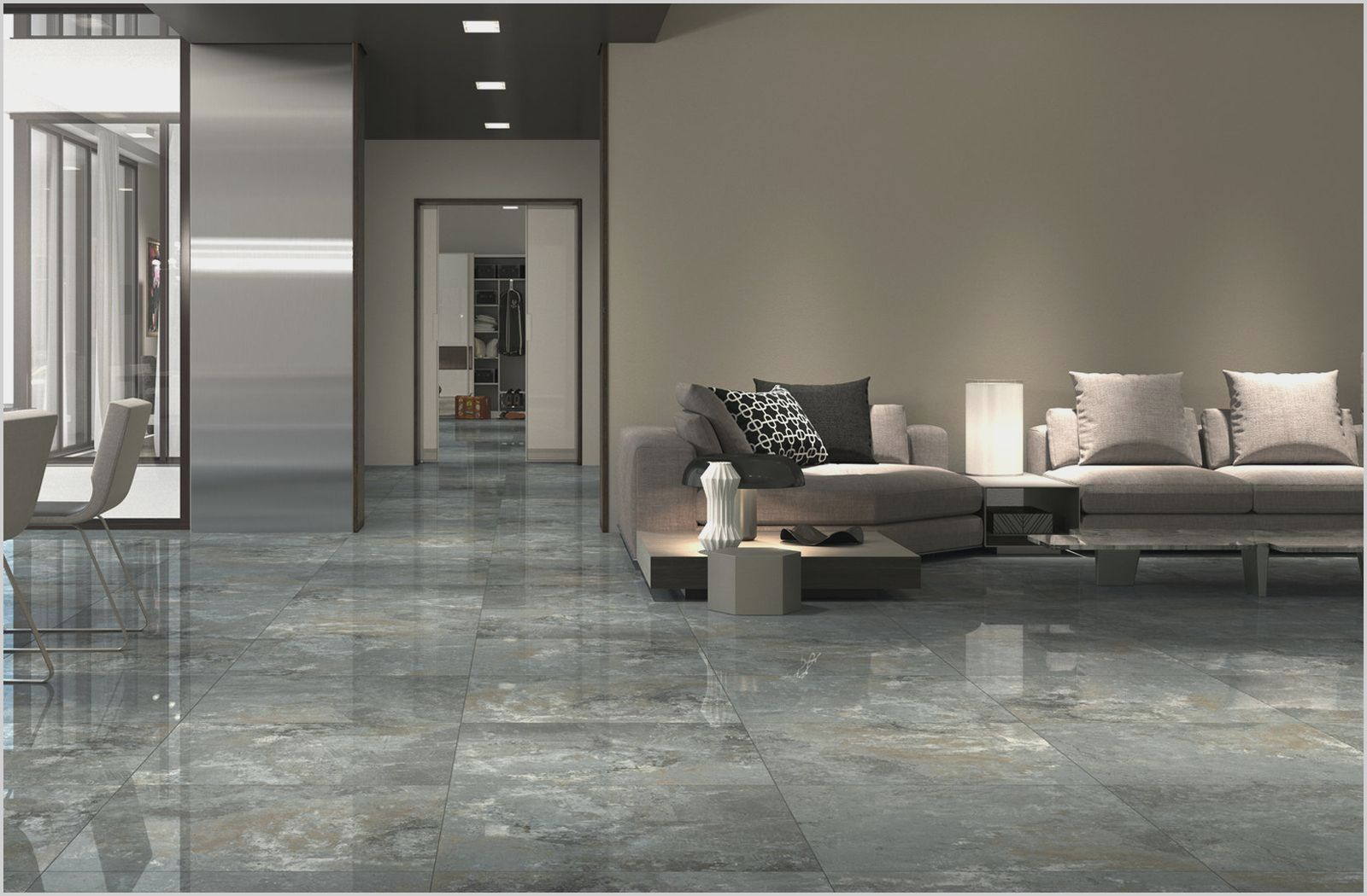 Simple Grey Living Room Floor Tiles Di 2020