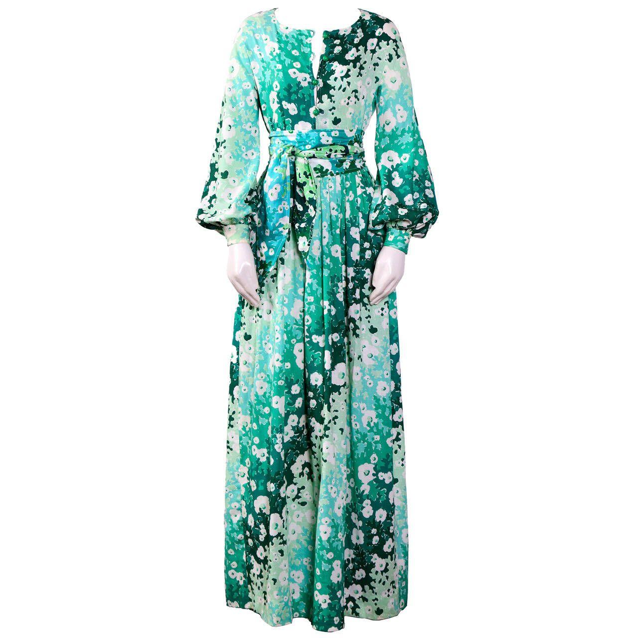 60s green dress  Vintage us BALENCIAGA Light Cotton Flower Print Dress  From a
