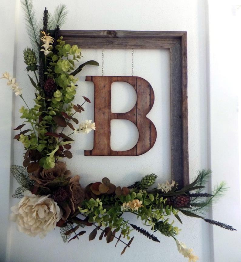 Front Door Wreath With Initial Monogram Wreath Rustic Decor Etsy Door Wreaths Diy Handmade Home Decor Door Decorations