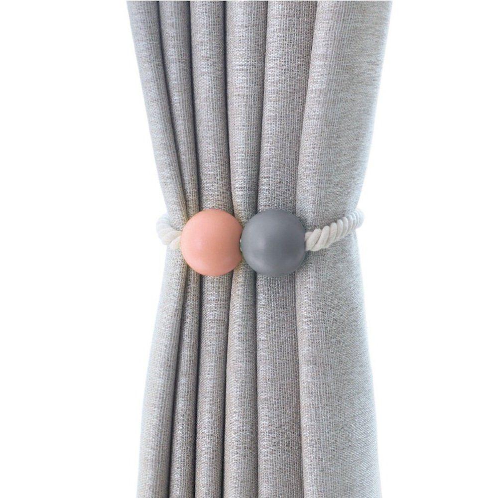 Wooden Ball Magnetic Curtain Tiebacks Drapes Rope Tieback Room