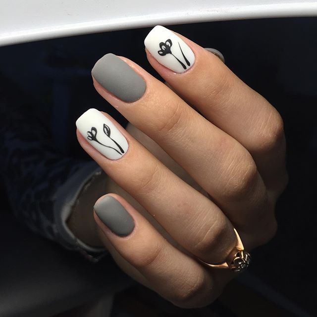 uñas gris blanco diseño flores negras sencillas | Uñas | Pinterest ...