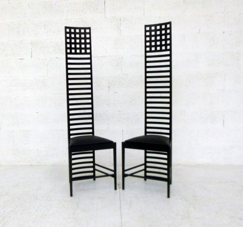 Coppia di sedie hill house design charles rennie for Sedie design anni 20