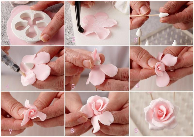 Gumpaste rose step-by-step.