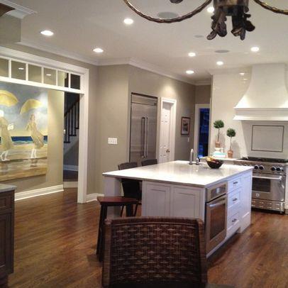 Dark Wood Kitchen Cabinets Grey Walls Paint Colors