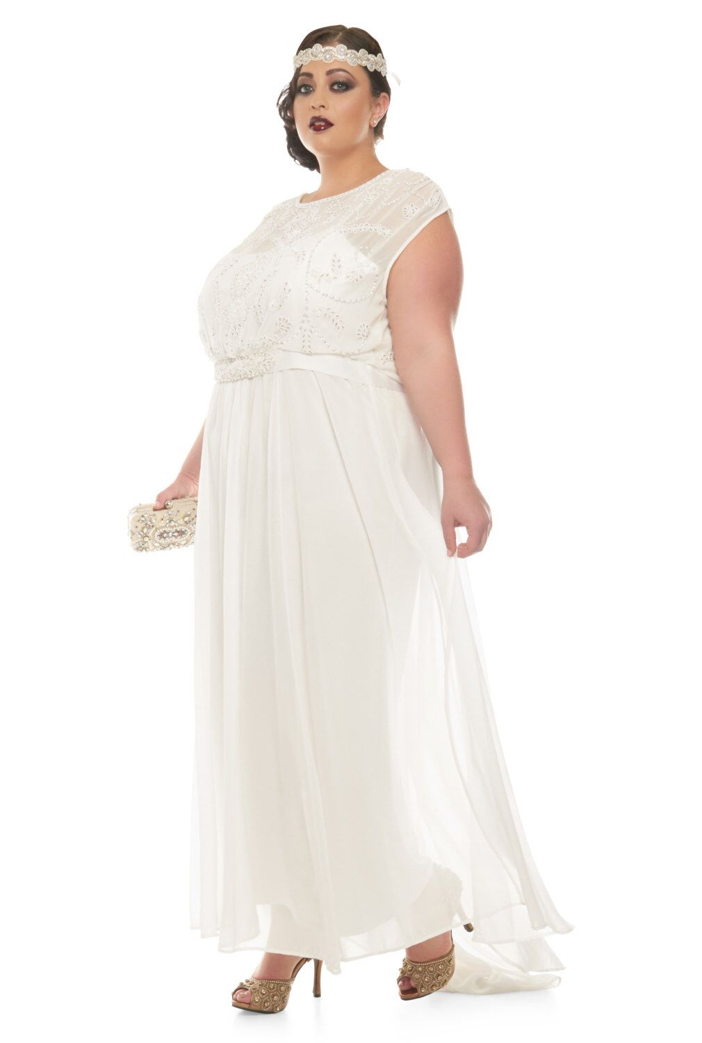 Plus Size Roselyn Off White Wedding Prom Maxi Wedding Dress Vintage ...