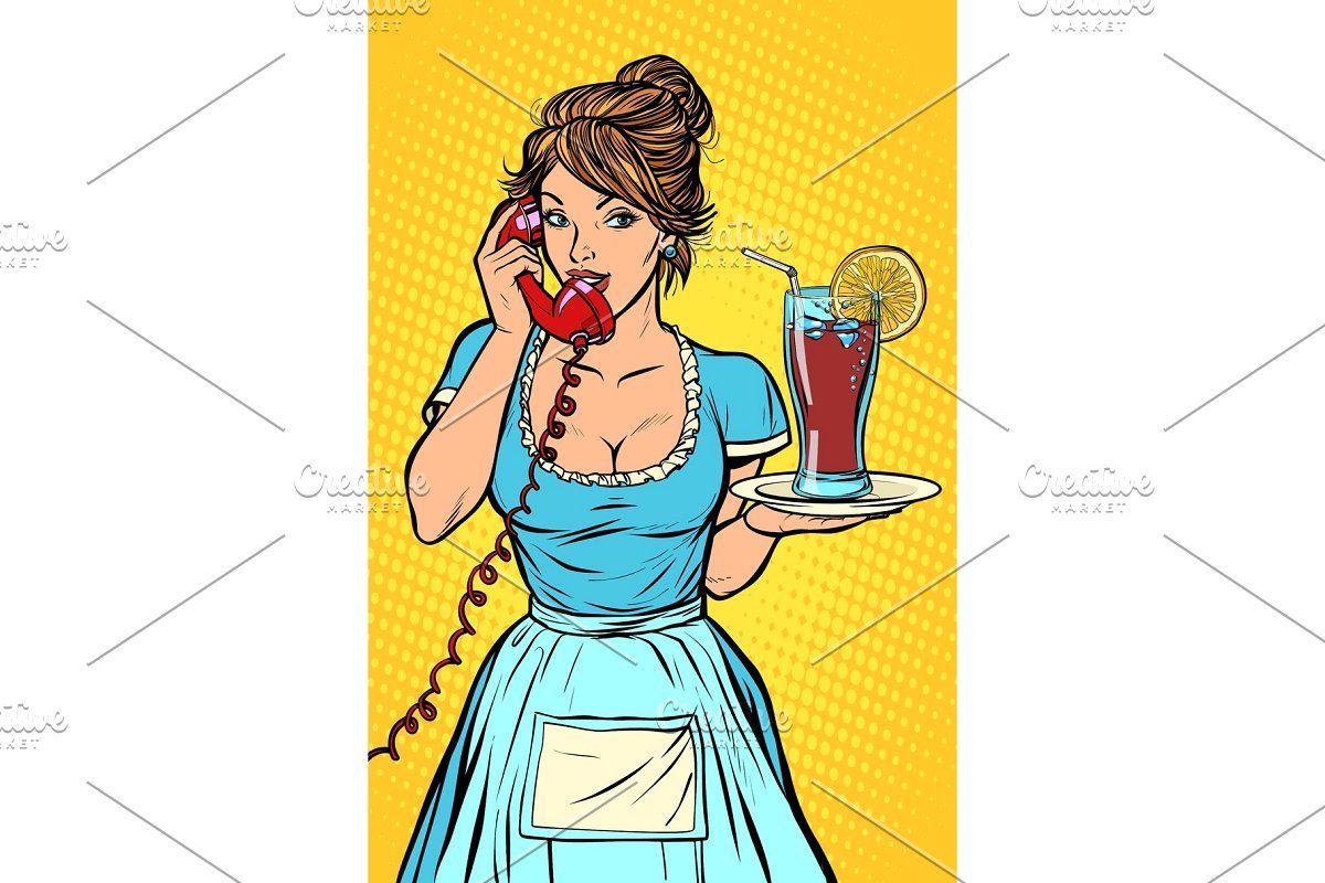 Cola drink character retro vector illustration retro