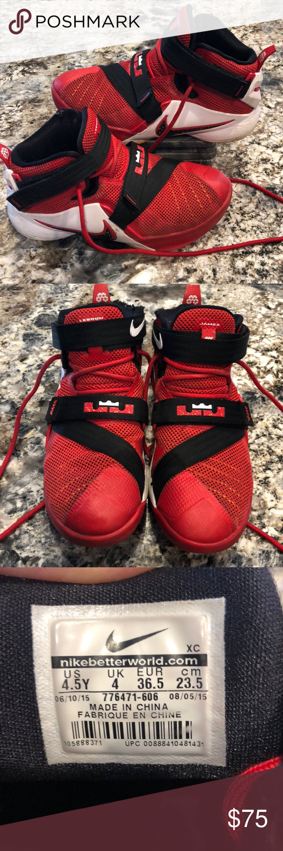 5f0b09241e63 Nike LeBron - Soldier 9 LeBron James basketball sneakers. Soldier 9. Red  with black