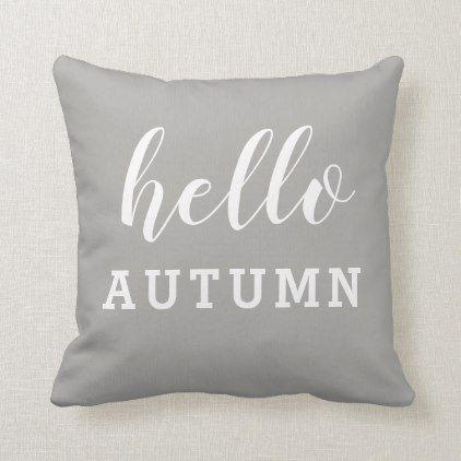 Hello Autumn Minimalist Modern Grey White Throw Pillow | Zazzle.com #helloautumn