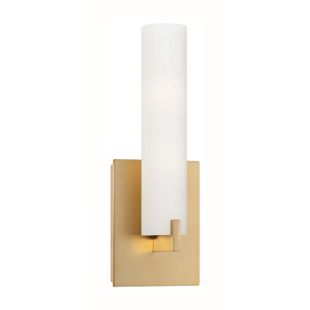 Modern Sconce Wall Light With White Glass In Honey Gold Finish - Gold bathroom light fixtures for bathroom decor ideas