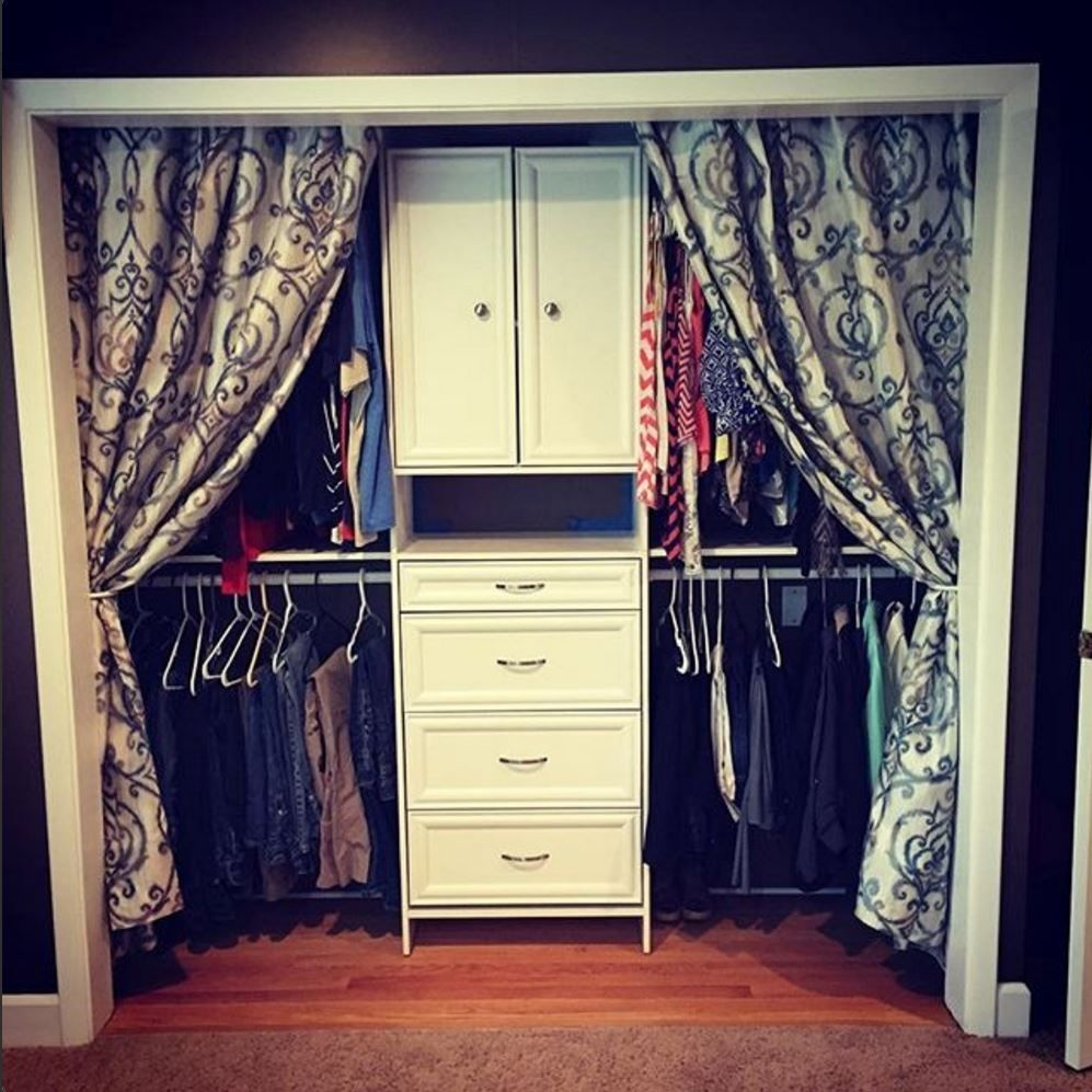 We love this look add curtains if you don t have doors on for Closet door ideas