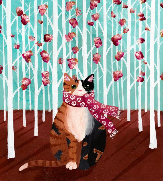 'Calico Forest Cat in a Scarf' Original Folk Art Painting by 'KilkennycatArt' on Etsy♥≻★≺♥