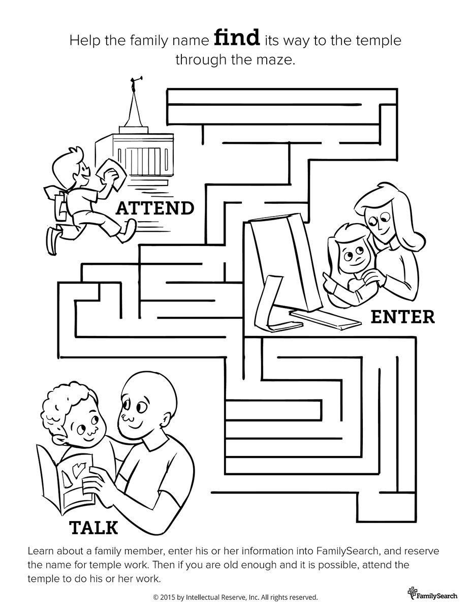 lds family history and temple maze coloring activity page for
