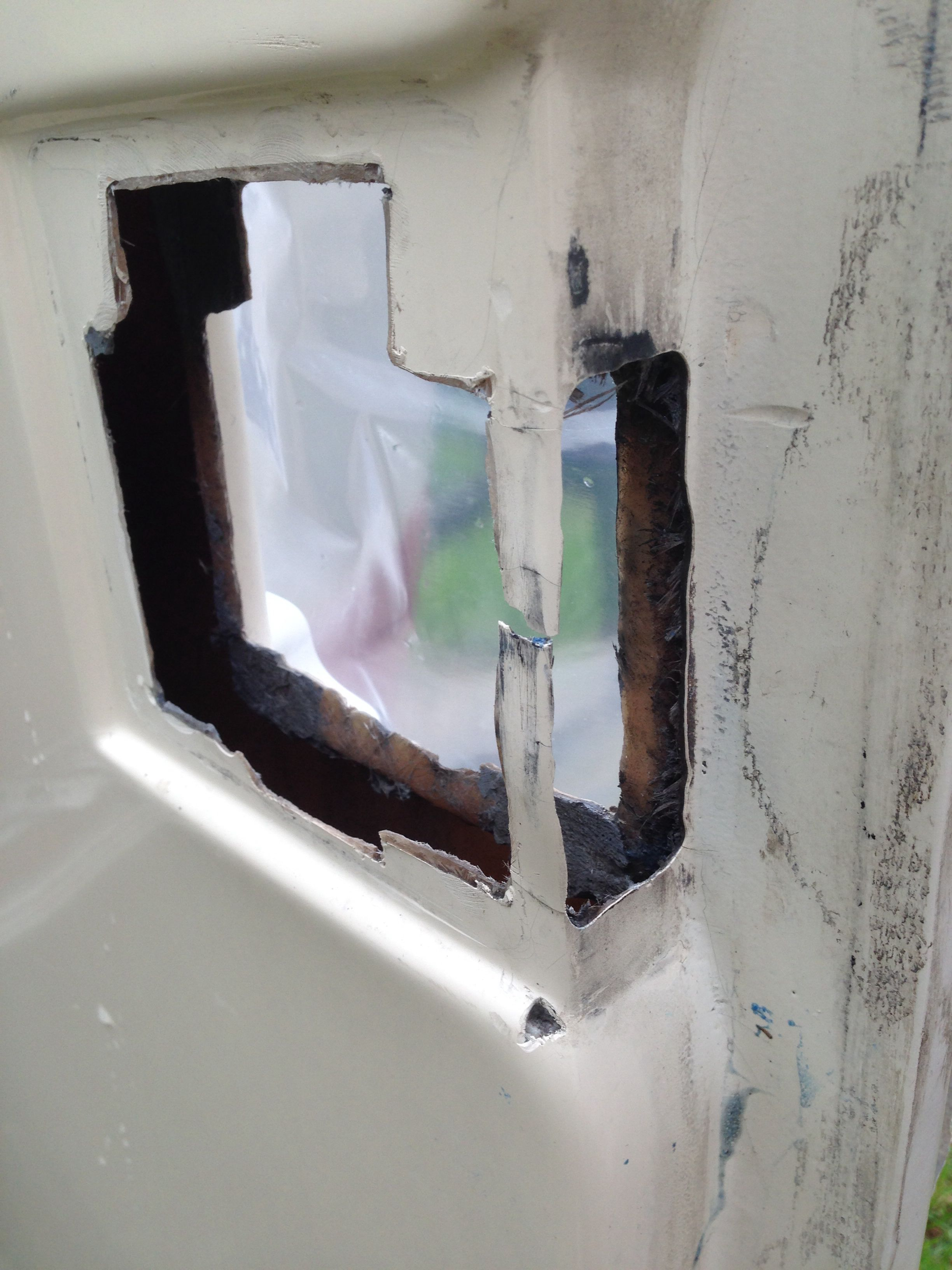 Door lock hole being restored Door locks, Restoration, Uhaul