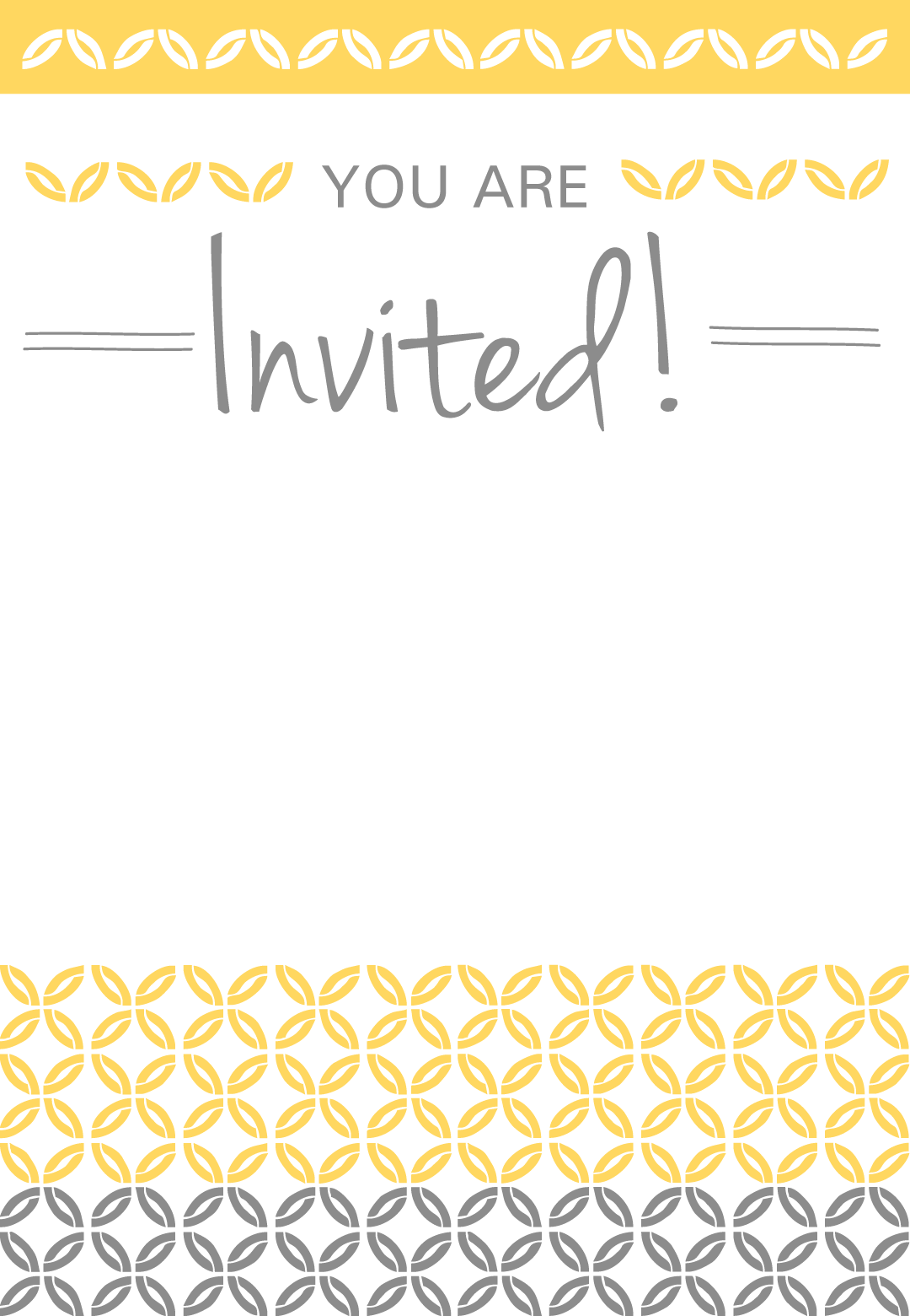 Yellow Ornaments Free Printable Party Invitation Template