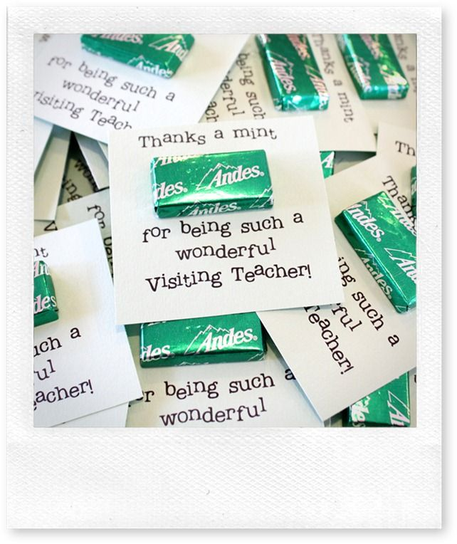 Thanks a mint for being a wonderful visiting teacher! printable ...
