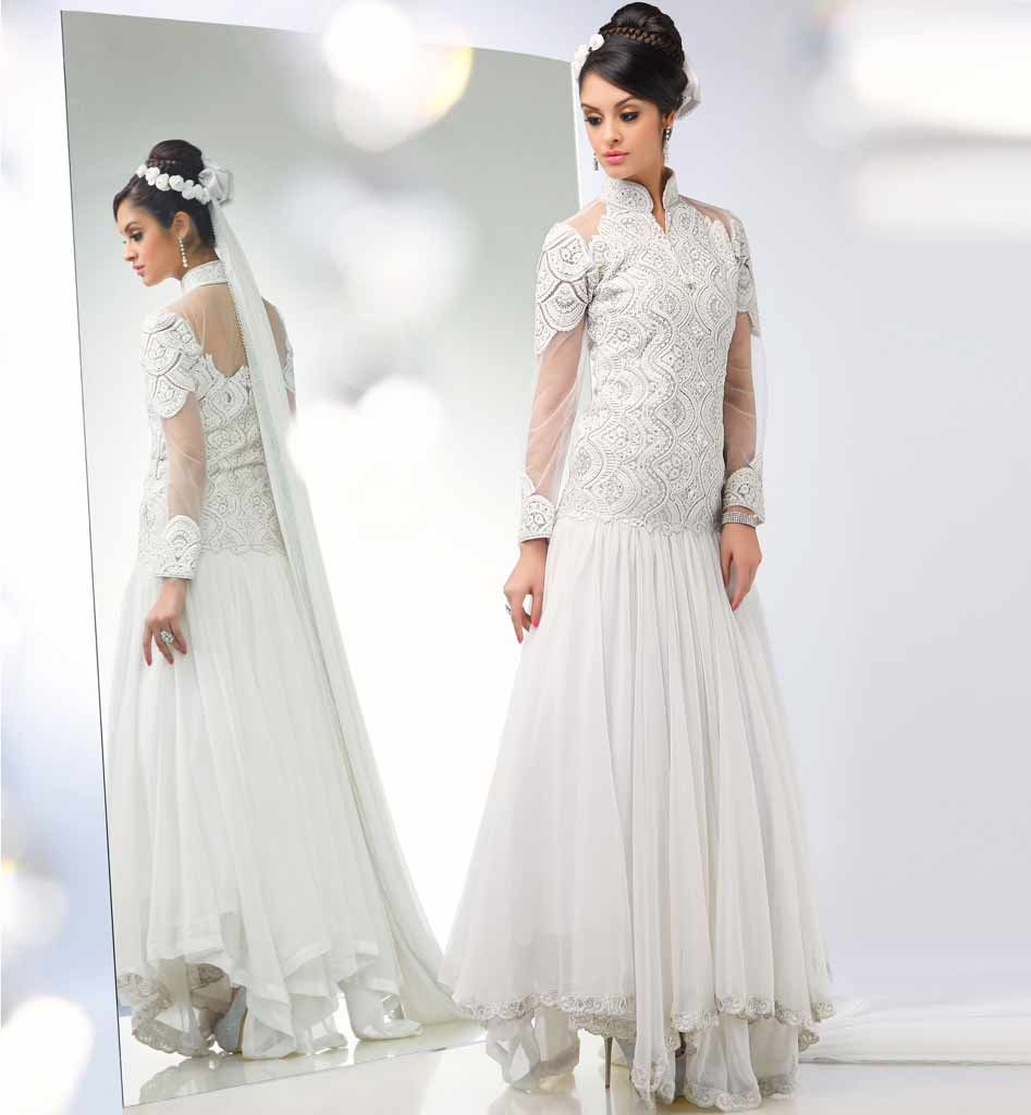 Outstanding off white anarkali stylish indian ethnic collection