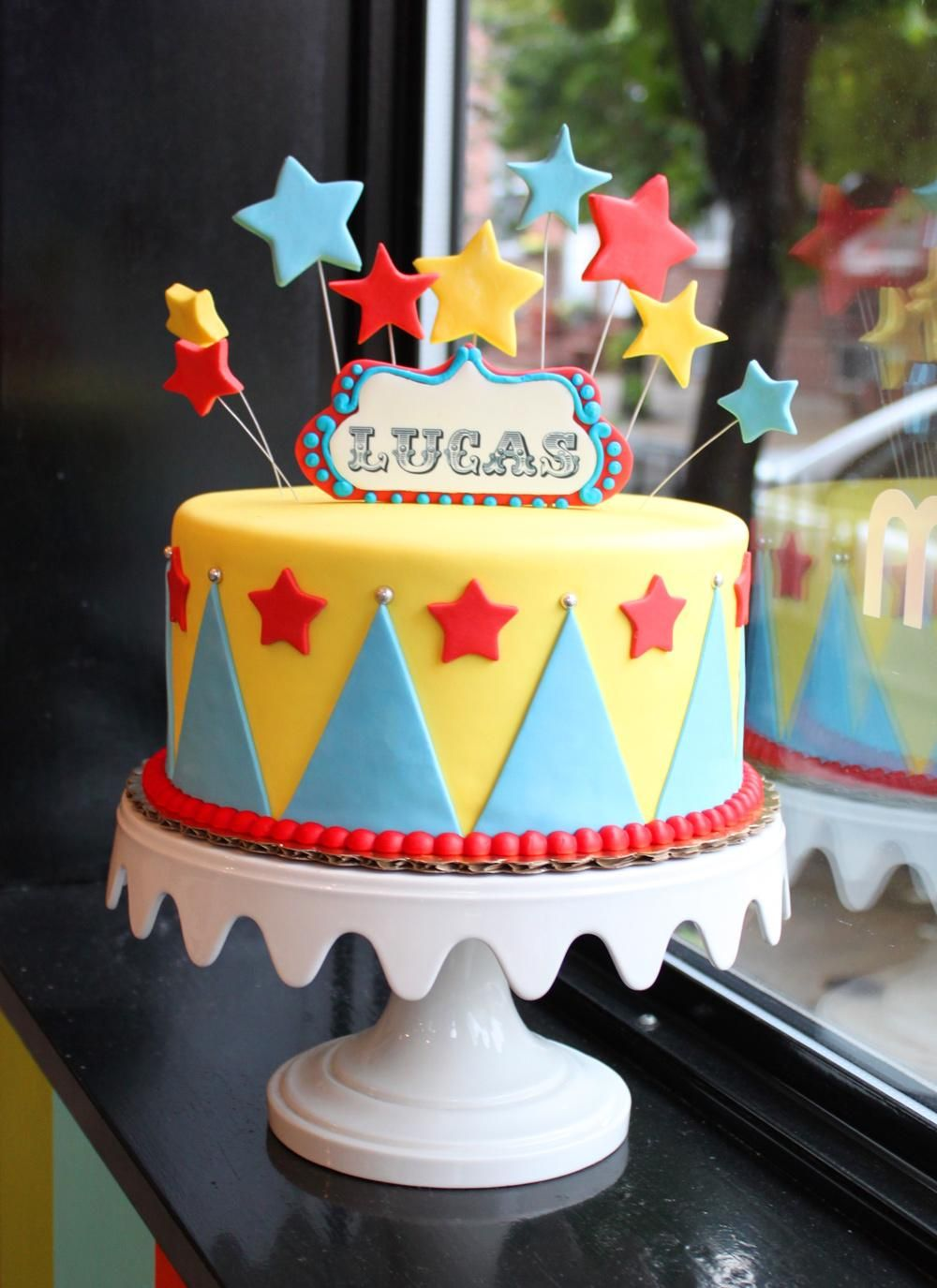 Swell Circus Celebration Cake Whipped Bakeshop Circus Birthday Cake Personalised Birthday Cards Veneteletsinfo