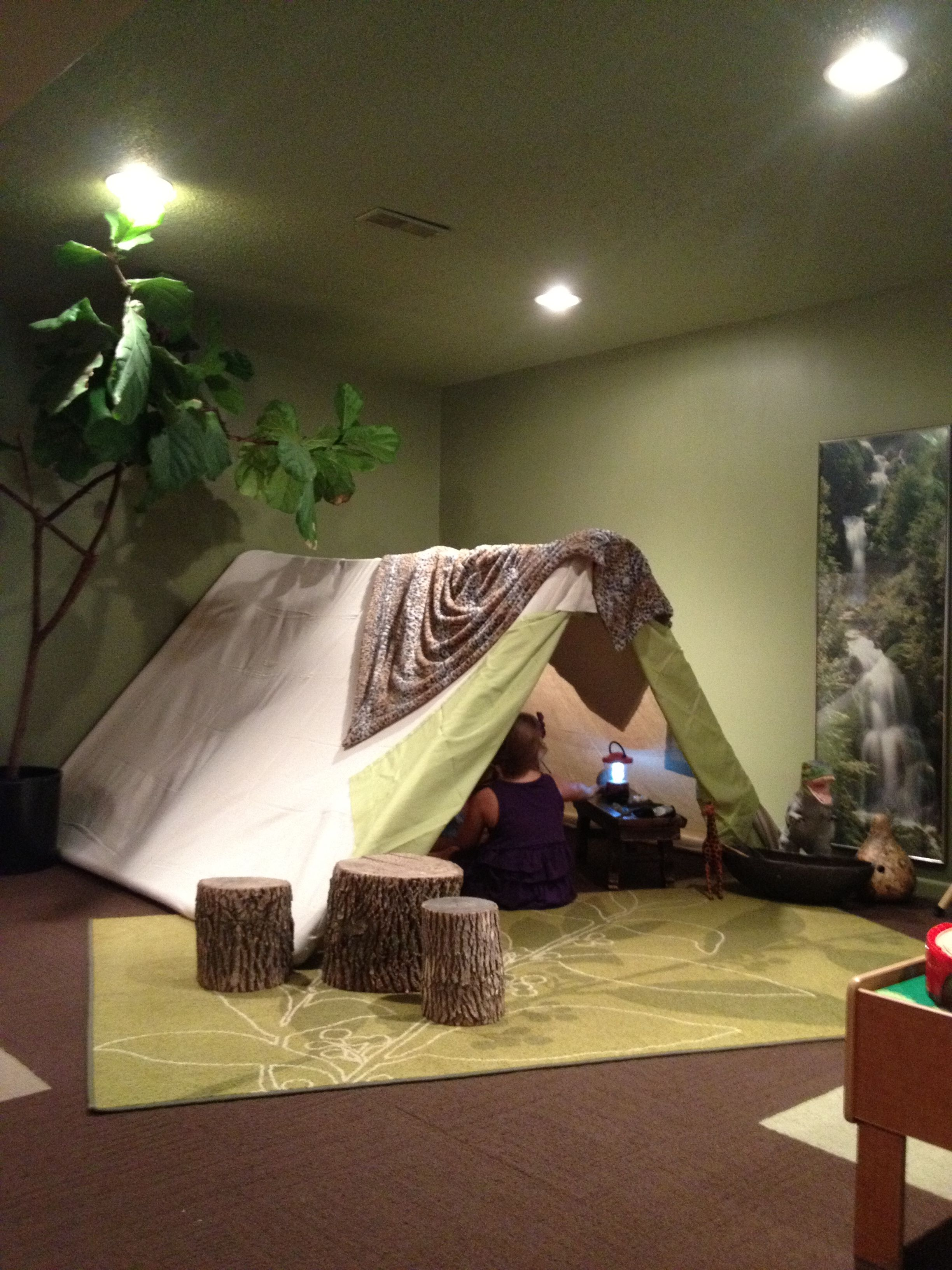 Tent / fort made from PVC pipe and a painters canvas
