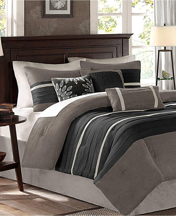 Madison Park Palmer Microsuede 7 Pc Full Comforter Set Reviews Bed In A Bag Bed Bath Macy S Full Comforter Sets Comforter Sets Luxury Bedding Master Bedroom