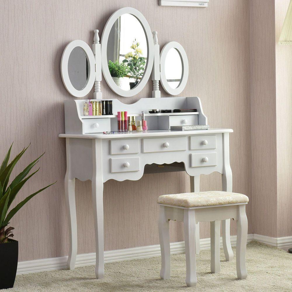 White Vanity Wood Makeup Dressing Table Stool Set Modern Dressers For Bedroom Modern Vanity Table Set Dressing Table With Stool Dressing Table Vanity