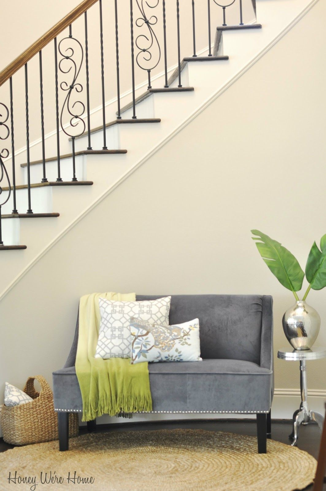 Honey We\'re Home: Decorating Under the Staircase (Target settee and ...