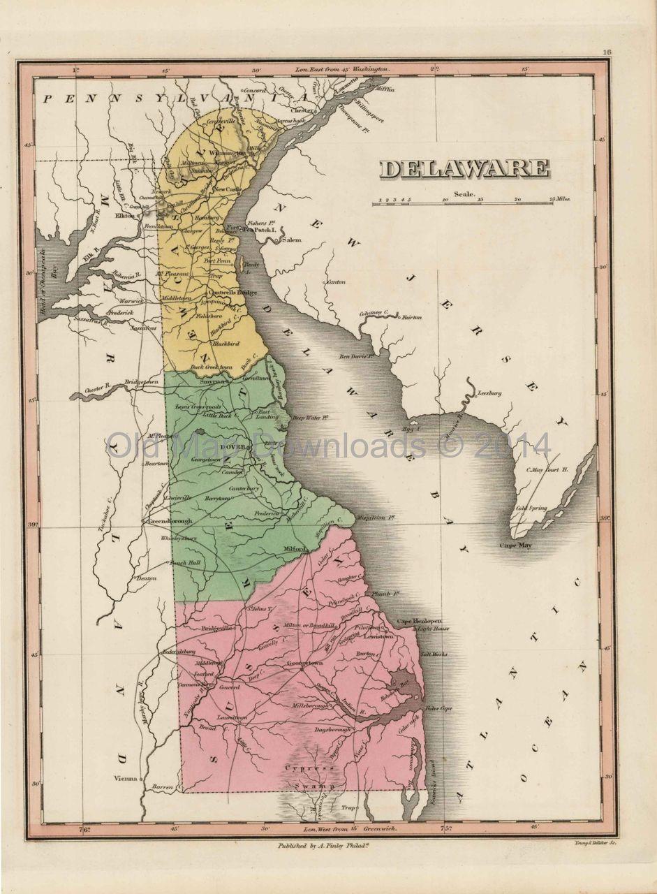 Delaware State Old Map Finley 1824 Digital Image Scan Download