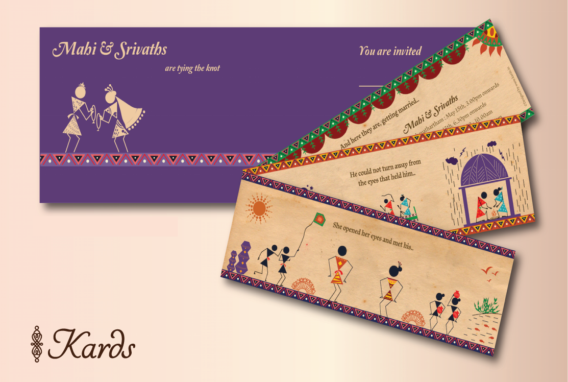 muslim wedding invitations mumbai%0A Warli themed wedding invitation