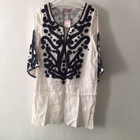 Embellished and woven detailing on awesome tunic. Embellished and woven detailing on awesome tunic. Calypso St. Barth Tops Tunics