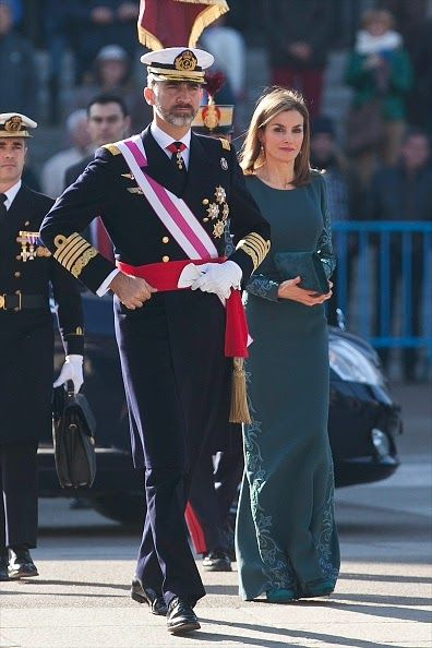 Spanish King Felipe VI and Queen Letizia attend the Pascua Military ceremony at the Royal Palace on 06.01.2015 in Madrid, Spain.