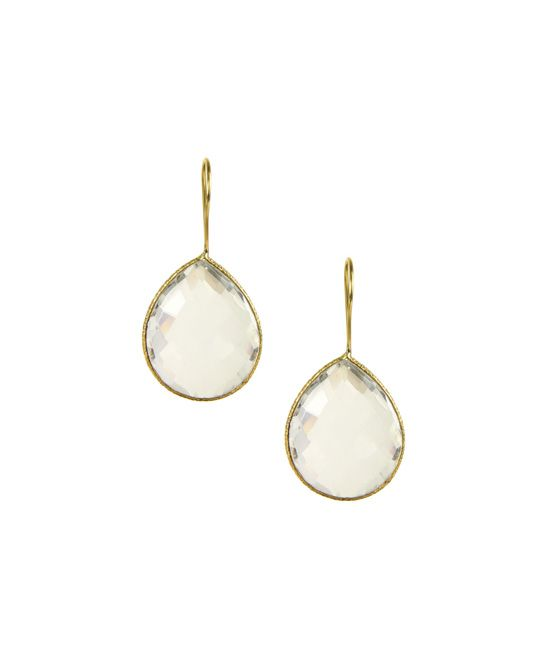 Gold & Clear Quartz Drop Earrings//