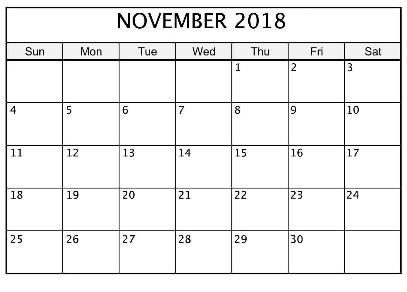 photograph regarding Printable November Calendar named Cost-free Calendar Layout November 2018 Printable November 2018