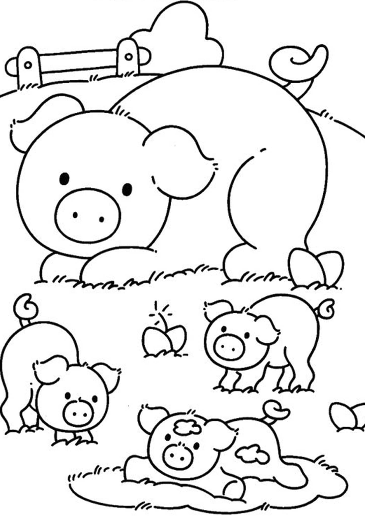 Free & Easy To Print Pig Coloring Pages  Farm coloring pages