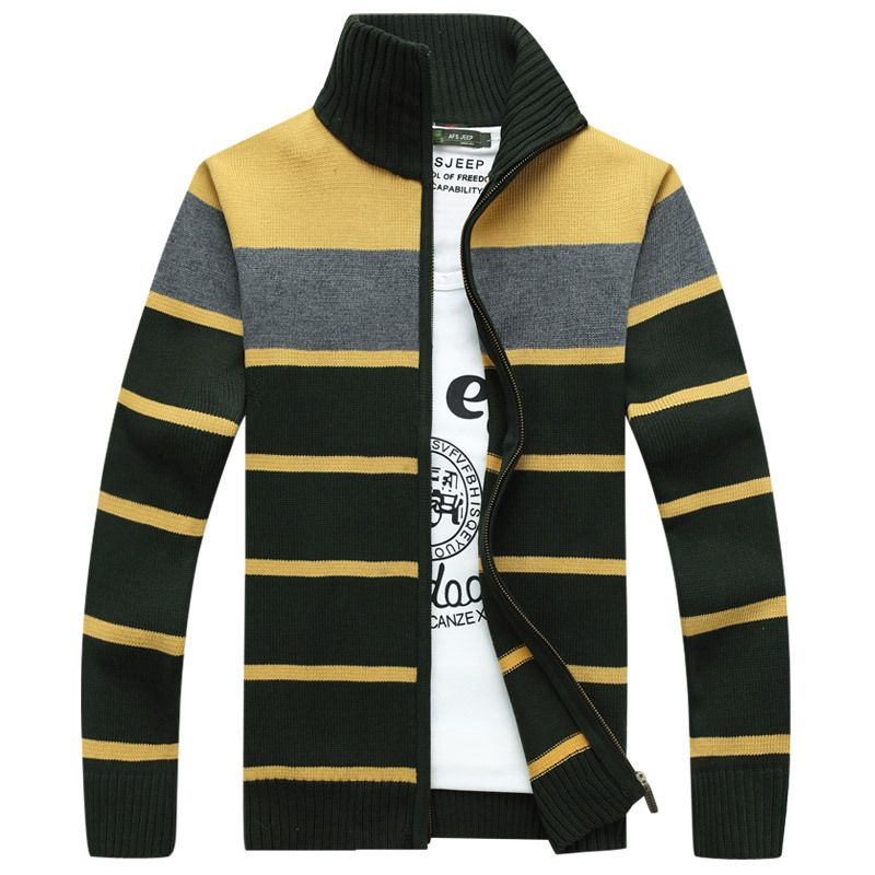 New Autumn Winter Mens Sweater Male Cardigan Knitted Slim Zipper Sweater  Brand Clothing Striped SweaterCoats Oversized f0e8d709e